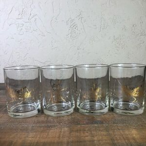 Insect drink gold scotch barware glasses lot of 4